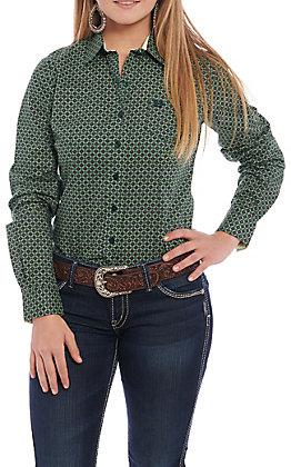 Cinch Women's Green Geo Print Long Sleeve Western Shirt