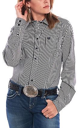 Cinch Women's Black & White Striped Long Sleeve Western Shirt