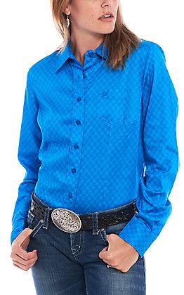Cinch Women's Blue Geo Print Long Sleeve Western Shirt