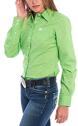 Cinch Women's Green Geo Print Long Sleeve Western Shirt