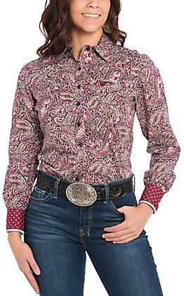 Cinch Women's Purple Paisley Long Sleeve Western Shirt