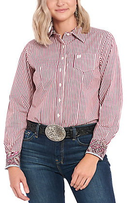 Cinch Women's Burgundy Multi Striped Long Sleeve Western Shirt