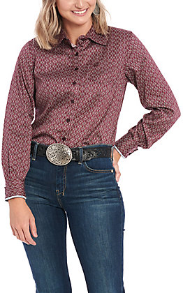 Cinch Women's Maroon Geo Print Long Sleeve Western Shirt