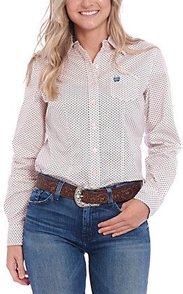 Cinch Women's Pink & Teal Polka Dot Long Sleeve Western Shirt