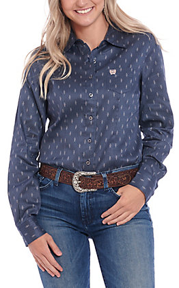 Cinch Women's Navy Geo Print Long Sleeve Western Shirt