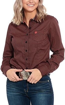 Cinch Women's Black with Coral Print Long Sleeve Western Shirt