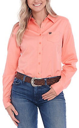 Cinch Women's Solid Coral Long Sleeve Western Shirt