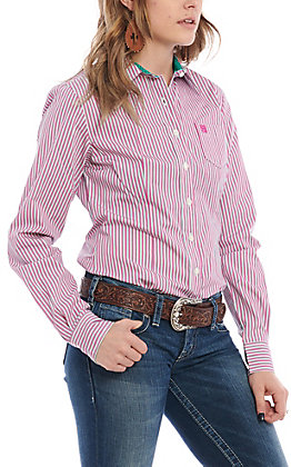 Cinch Women's Violet & Teal Striped Long Sleeve Western Shirt