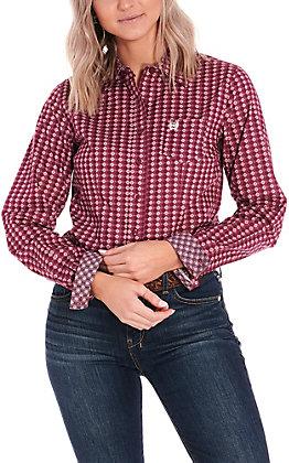 Cinch Women's Pink with Diamond Print Long Sleeve Western Shirt