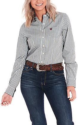 Cinch Women's Teal and White Stripe Long Sleeve Western Shirt