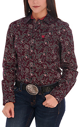 Cinch Women's Pink and Black Paisley Long Sleeve Western Shirt