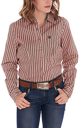 Cinch Women's Coral and Grey Print Long Sleeve Western Shirt