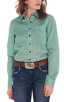 Cinch Women's Teal and Coral Print Long Sleeve Western Shirt