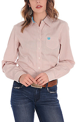 Cinch Women's White with Coral and Turquoise Stripes Long Sleeve Western Shirt