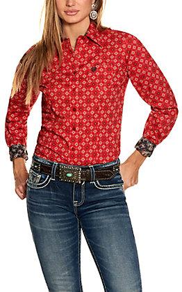 Cinch Women's Red Geo Print Stretch Long Sleeve Western Shirt
