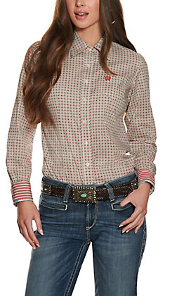Cinch Women's White Geo Print Long Sleeved Western Shirt