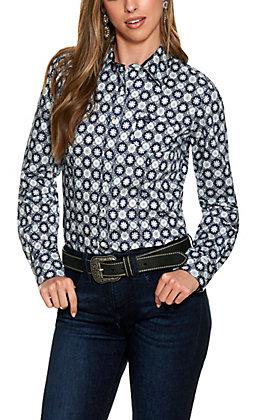 Cinch Women's Navy and Grey Medallion Print Long Sleeve Western Shirt