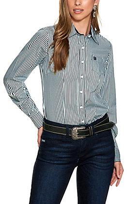 Cinch Women's Navy Stripe Tencel Long Sleeve Western Shirt
