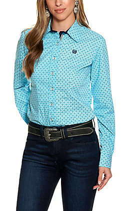 Cinch Women's Blue Diamond Print Long Sleeve Western Shirt