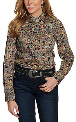 Cinch Women's Black Paisley Long Sleeve Western Shirt