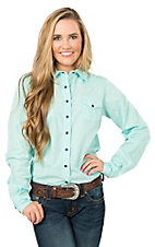 Cinch Women's Mint with Silver Pinstripes Long Sleeve Western Shirt