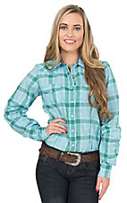 Cinch Women's Turquoise and Green Plaid Long Sleeve Western Snap Shirt