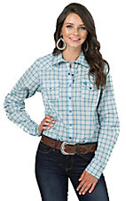 Cinch Women's Teal and White Plaid Long Sleeve Western Snap Shirt