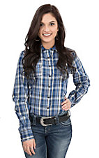 Cinch Ladies Blue, Black, and White Plaid Long Sleeve Western Snap Shirt