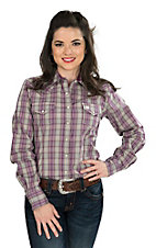 Cinch Ladies Grey, White, and Purple Plaid Long Sleeve Western Snap Shirt