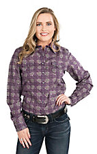 Cinch Women's Grey and Purple Ornate Print Long Sleeve Western Shirt