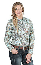 Cinch Ladies Mint Paisley Print Long Sleeve Western Snap Shirt