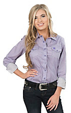 Cinch Ladies Purple Print Long Sleeve Western Snap Shirt