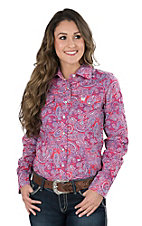 Cinch Women's Pink Paisley Long Sleeve Western Snap Shirt