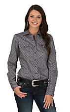 Cinch Women's Grey and Purple Printed Long Sleeve Western Snap Shirt