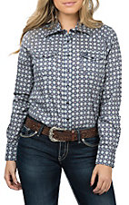 Cinch Women's Blue Printed L/S Western Snap Shirt
