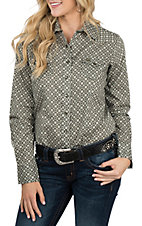 Cinch Women's Olive Printed L/S Western Snap Shirt