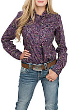 Cinch Women's Navy and Purple Paisley L/S Western Snap Shirt