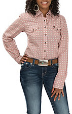 Cinch Women's Pink & Brown Geo Print L/S Western Snap Shirt