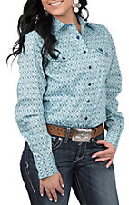 Cinch Women's Blue Geometric Print Western Snap Shirt
