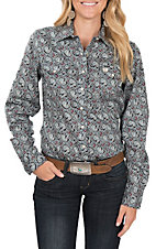 Cinch Women's Blue Paisley Print L/S Western Snap Shirt