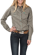 Cinch Women's Long Sleeve Brown Print Western Shirt