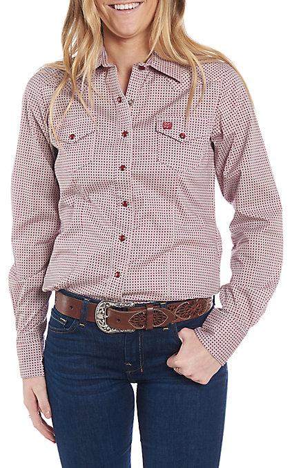 Sleeve Cinch Long Women's Western Shirt Pink Print clF1KJ