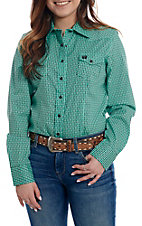 Cinch Women's Turquoise Print with Black Pearl Snap Long Sleeve Western Shirt