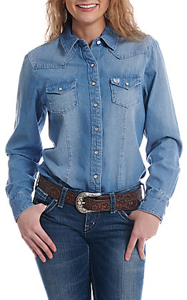 Cinch Women's Denim Snap Button Down Long Sleeve Western Shirt