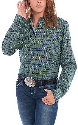 Cinch Women's Blue & Green Geo Print Long Sleeve Western Shirt