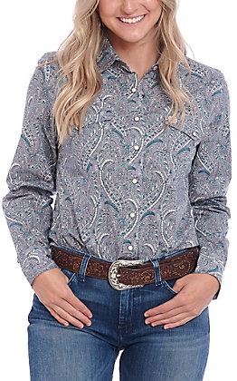 Cinch Women's Grey Paisley Print Long Sleeve Western Shirt