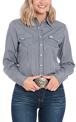 Cinch Women's Grey Striped Long Sleeve Western Shirt