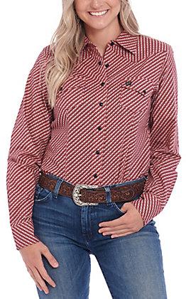 Cinch Women's Coral and Black Geo Print Long Sleeve Western Shirt