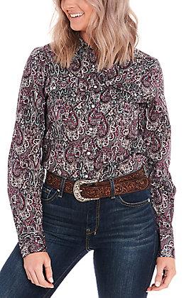 Cinch Women's Purple and Grey Paisley Long Sleeve Western Shirt