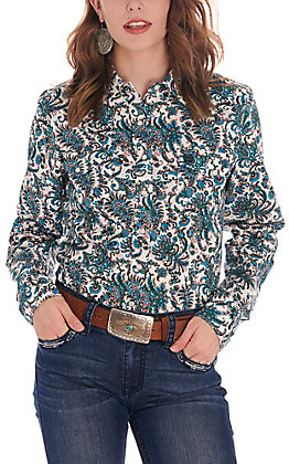 Cinch Women's White with Turquoise and Green Paisley Long Sleeve Western Shirt